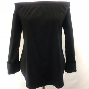 Cremieux Black Off Shoulder Long Sleeve Blouse XS
